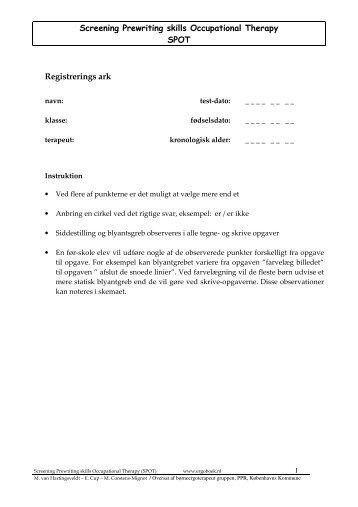 Screening Prewriting skills Occupational Therapy SPOT ... - Ergoboek
