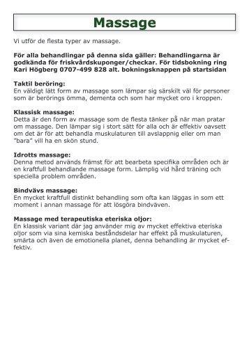 Klassisk massage - Karis Massage & Fysioterapi