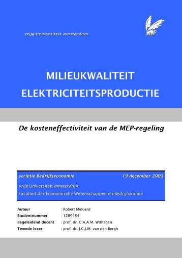 MILIEUKWALITEIT ELEKTRICITEITSPRODUCTIE