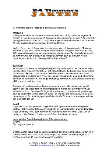 Ladda ner reglerna här (pdf) - 24 Timmars Jakten
