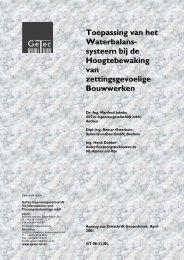 Toepassing van het Waterbalans- systeem bij de ... - Smet-Keller