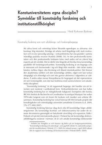 Synvinklar till konstnärlig forskning och institutionstillhörighet1