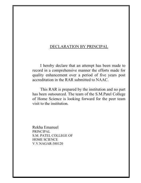DECLARATION BY PRINCIPAL I hereby declare     - SM Patel College