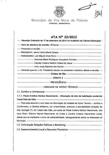 Ata nº 22/2012 - Câmara Municipal Vila Nova de Poiares