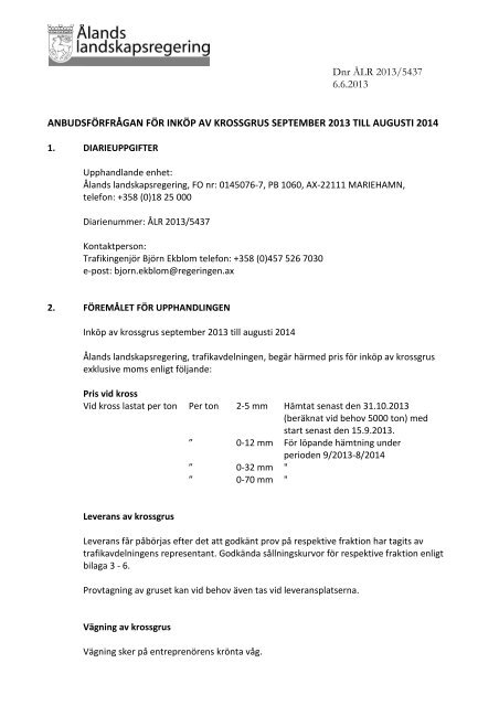 03fcb3046f26 Anbudsförfrågan - Ålands landskapsregering