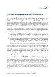 Fyra positioner under ett konsultativt samtal - Rörelse och utveckling