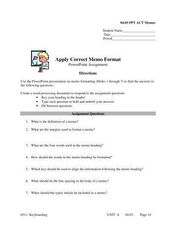 memo formatting