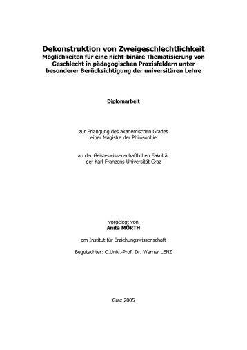 Dekonstruktion von Zweigeschlechtlichkeit - anita.a.mörth