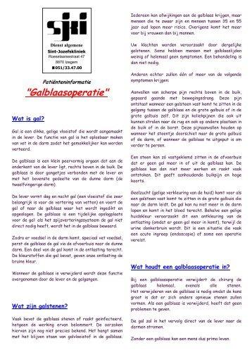 Galblaasoperatie - Sint-Jozefskliniek Izegem