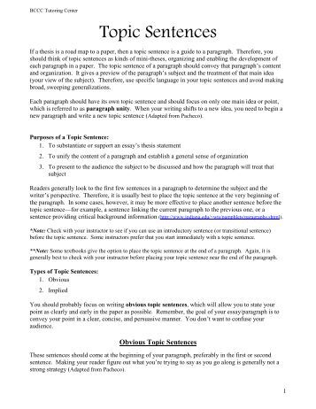 thesis statements and topic sentences essay Thesis statements and topic sentences help organize the ideas in an essay academic writers are expected to use thesis statements and topic sentences.