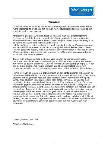 Voorwoord - Wsnp - Raad voor Rechtsbijstand