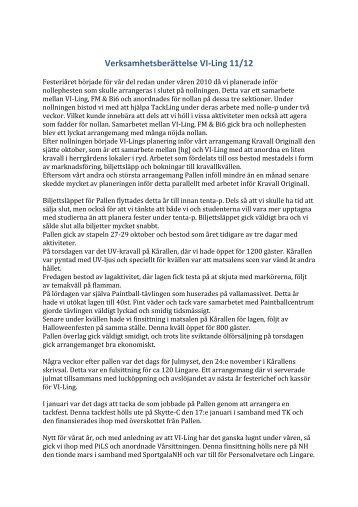 Verksamhetsberättelse VI-Ling 11/12 - Lingsektionen