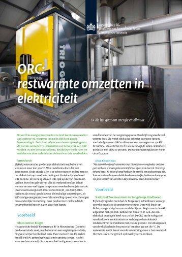 ORC: restwarmte omzetten in elektriciteit - BiogaS