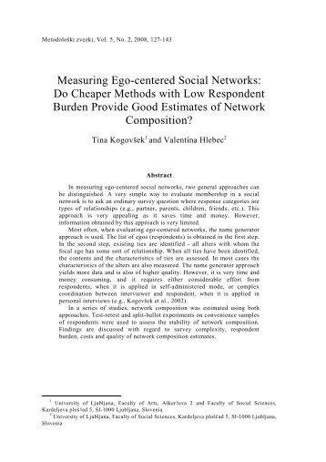 Measuring Ego-centered Social Networks: Do Cheaper Methods ...