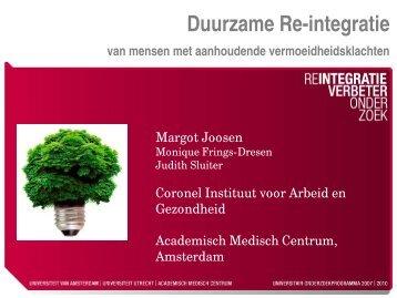 Duurzame re-integratie van mensen met aanhoudende ...