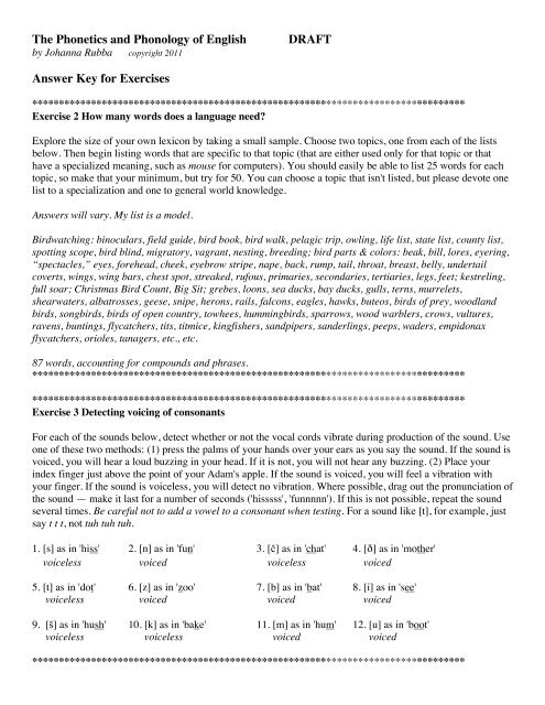 The Phonetics and Phonology of English DRAFT Answer Key for