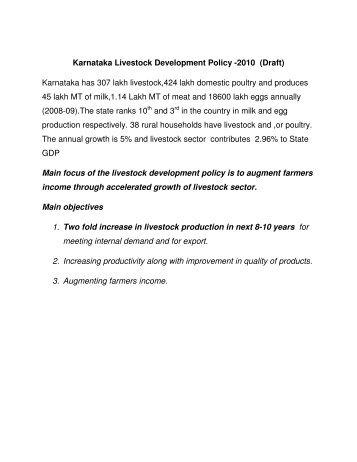 Karnataka Livestock Development Policy -2010 - Government of ...