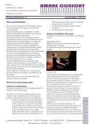 Nieuwsbrief nr. 1 september 2011 - Amare consort