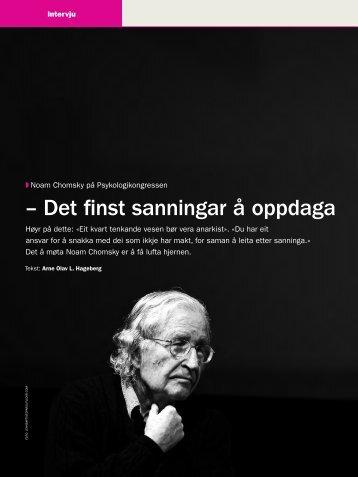– Det finst sanningar å oppdaga - Tidsskrift for Norsk Psykologforening