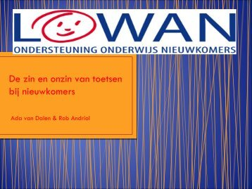 Toetsing en evaluatie - LOWAN