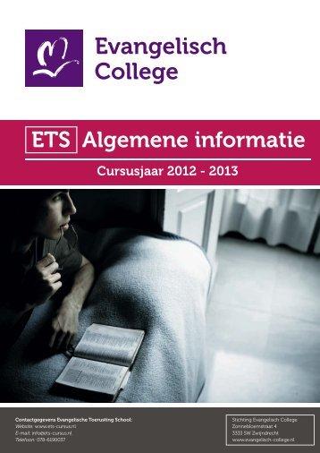 Algemene informatie cursusjaar 2012-2013. - ETS Cursus