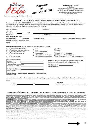 Etat descriptif et contrat de location d 39 un mobile home camping au - Contrat de location emplacement de parking ...