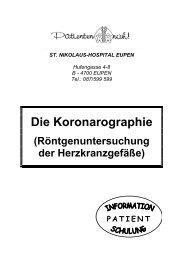 Die Koronarographie - St. Nikolaus-Hospital Eupen