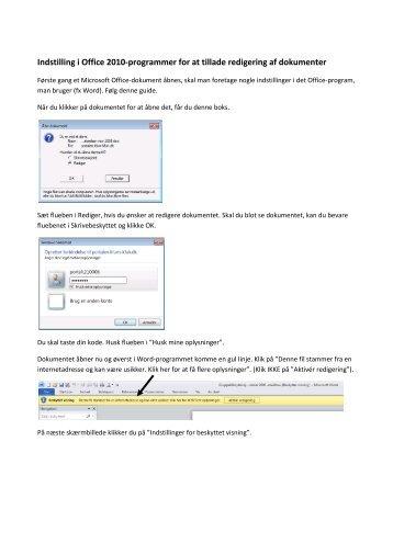 Indstilling i Office 2010-programmer for at tillade redigering af ...