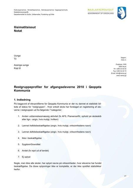 Ilisimatitsissut Notat Restgruppeprofiler for ... - Inerisaavik
