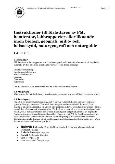 58106c36049a Projektarbeten - Ekologi, miljö och geovetenskap - Umeå universitet
