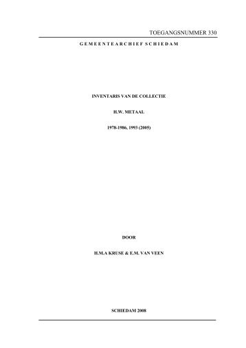 330 Inventaris van de Collectie H.W. Metaal, 1978-1985, 1993 (2005)