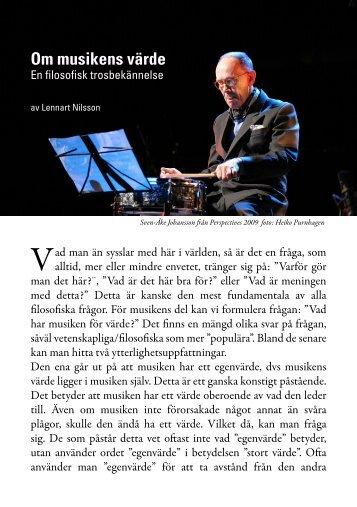 Om musikens värde av Lennart Nilsson (2009) (pdf) - nya perspektiv