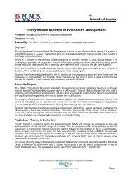 Postgraduate Diploma in Hospitality Management - BHMS