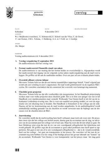 Verslag vergadering 8 december 2011