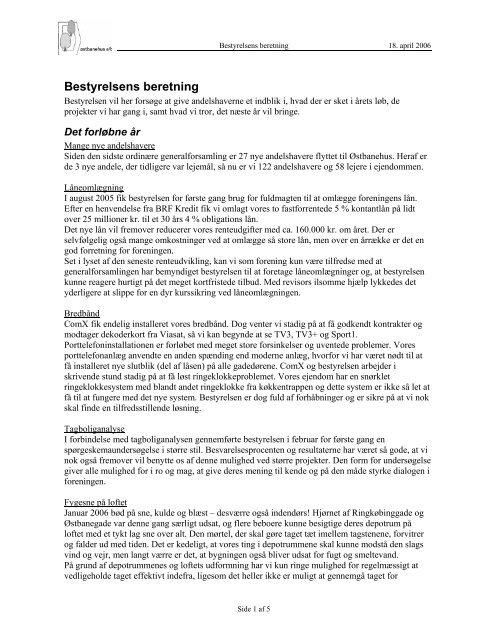 Bestyrelsens beretning - A/B Østbanehus
