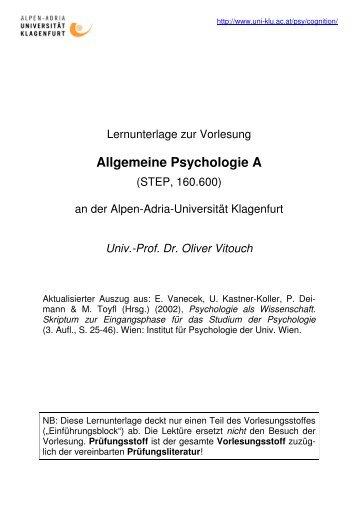 Allgemeine Psychologie A - Allgemeine Psychologie und ...