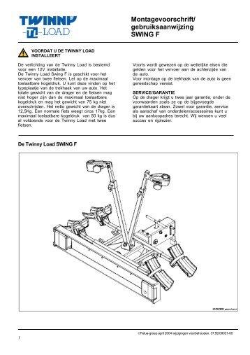 Montagevoorschrift/ gebruiksaanwijzing SWING F - voor de fiets