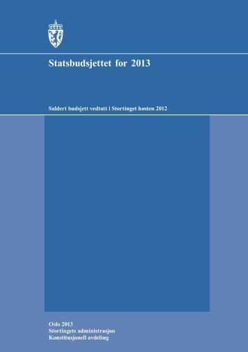 Vedtatt budsjett for 2013 - Stortinget