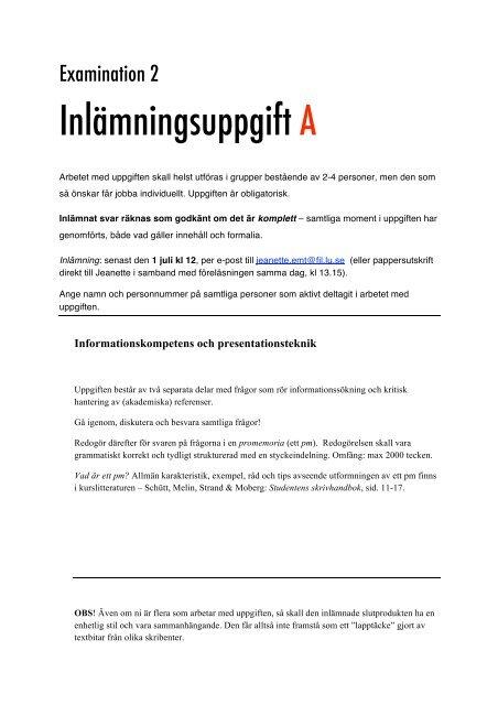 Examination 2: INLÄMNINGSUPPGIFT A (grupp)