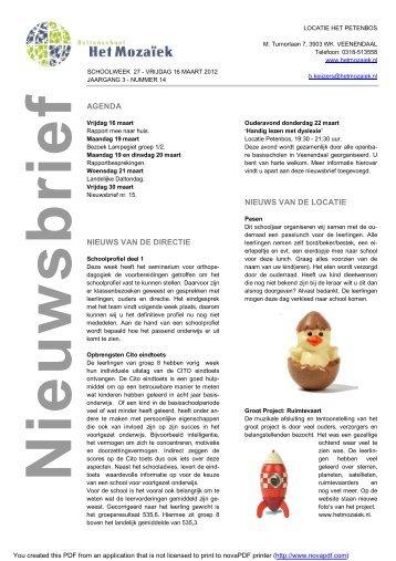 nieuwsbrief Petenbos 14.pdf - Daltonschool Het Mozaïek