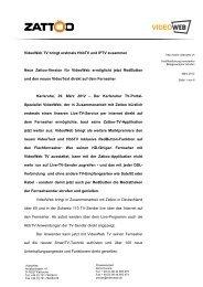 Videoweb TV Bringt Erstmals Hbbtv Und IPTV Zusammen - Zattoo