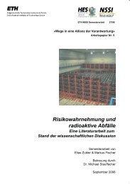 Risikowahrnehmung und radioaktive Abfälle - ETH Zürich
