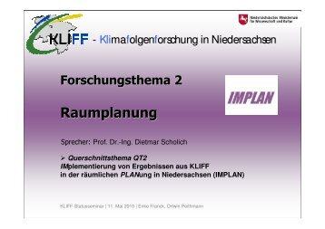 Vortrag Enke Franck / Ortwin Peithmann, KLIFF Statusseminar in ...