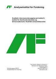 Forskning og forskningsorganisering - analyseinstitut for forskning ...
