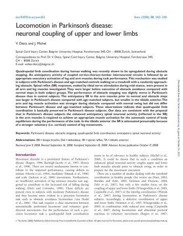 neuronal coupling of upper and lower limbs - Brain