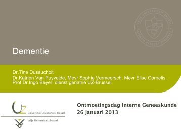 Dementie - Interne Geneeskunde