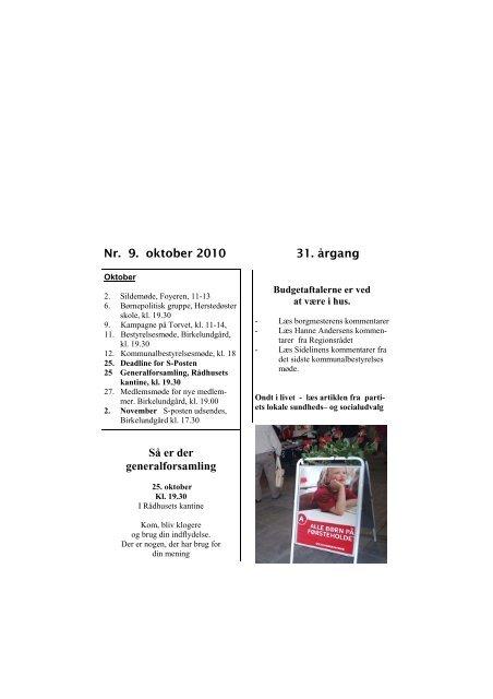 S-Posten oktober 2010 - Socialdemokraterne Albertslund