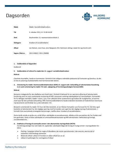Dagsorden og referat fra mødet i Socialdirektørkredsen den 6 ...
