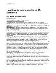 Handbok för sektionsmöte på IT- sektionen Om mötet och ... - styrIT