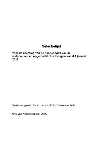 Selectielijst Waterschappen stcrt 2011 22255 - Nationaal Archief